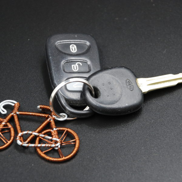 Recycled Copper Bike Keyring