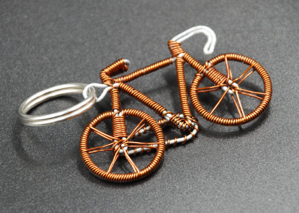 Upcycled bicycle key ring made from recycled copper wire