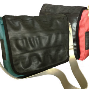 canvas and recycled inner tube courier bag