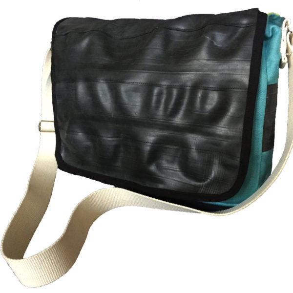 Blue Inner Tube and Canvas Courier Bag