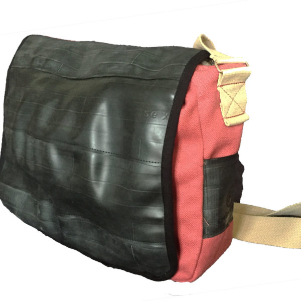Pink/Red Inner Tube and Canvas Courier Bag